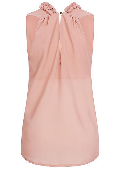Styleboom Fashion Damen 2-Layer Chiffon Frill Crinkle Top old rosa