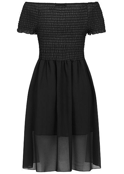 Styleboom Fashion Damen 2-Layer Off-Shoulder Chiffon Dress schwarz