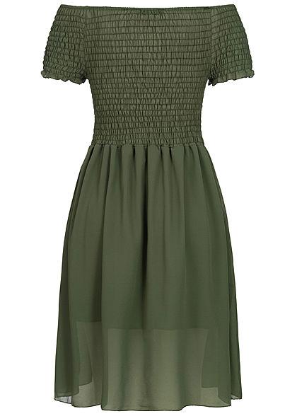 Styleboom Fashion Damen 2-Layer Off-Shoulder Chiffon Dress military grün