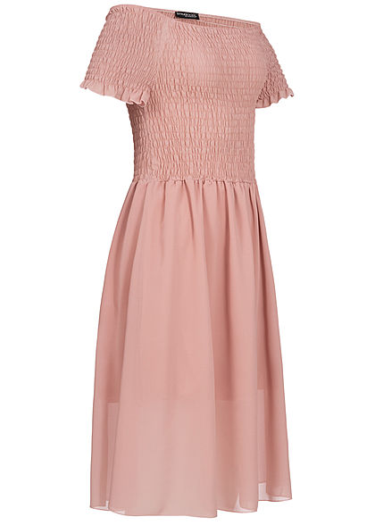 Styleboom Fashion Damen 2-Layer Off-Shoulder Chiffon Dress rosa