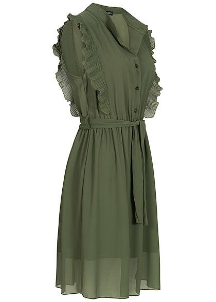 Styleboom Fashion Damen High-Neck Belted Chiffon Dress Plissee military grün