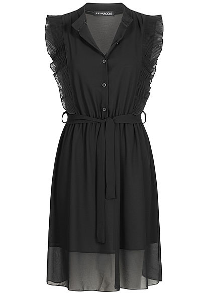 Styleboom Fashion Damen High-Neck Belted Chiffon Dress Plissee schwarz