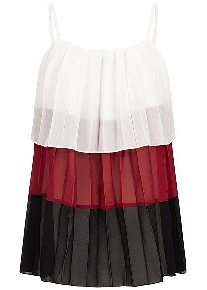 Styleboom Fashion Damen Chiffon 3-Tone Strapped Top weiss rot schwarz