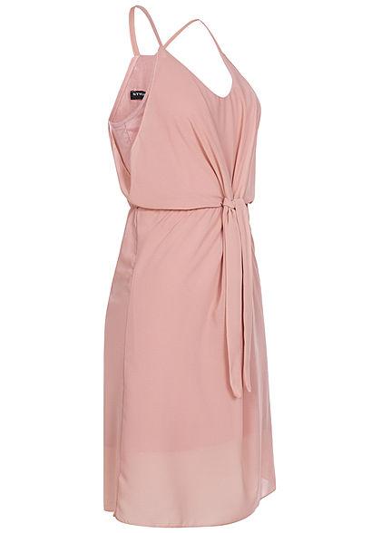Styleboom Fashion Damen 2-Layer Strap Bow Chiffon Dress old rosa
