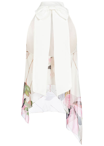 Styleboom Fashion Damen 2-Layer Choker Chiffon Top Blumen Print weiss rosa