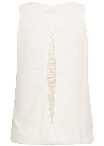 Styleboom Fashion Damen Chiffon Top Lace Backside Flower Print weiss