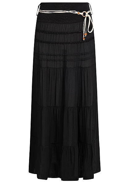 Styleboom Fashion Damen Belted 2-Layer Longform Skirt schwarz