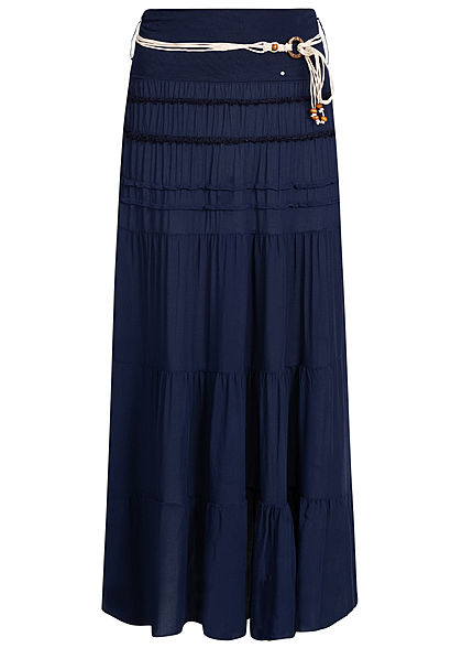 Styleboom Fashion Damen Belted 2-Layer Longform Skirt navy blau