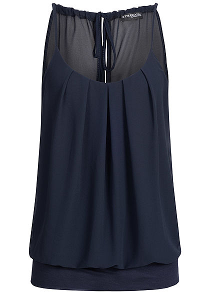 Styleboom Fashion Damen Chiffon Top navy blau