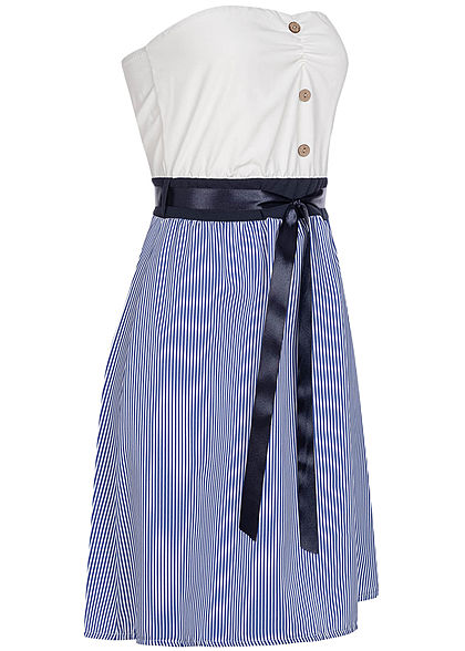 Styleboom Fashion Damen Striped Belt Bandeau Mini Dress Buttons blau weiss