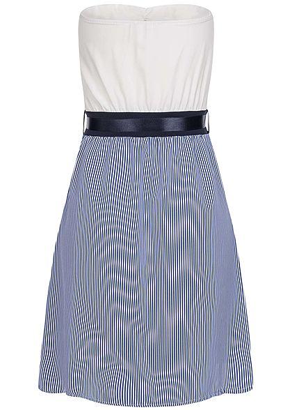 Styleboom Fashion Damen Striped Belt Bandeau Mini Dress Buttons blau weiss