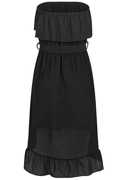 Styleboom Fashion Damen Belted Frill Bandeau Dress schwarz