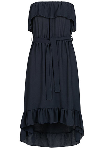 Styleboom Fashion Damen Belted Frill Bandeau Dress navy blau