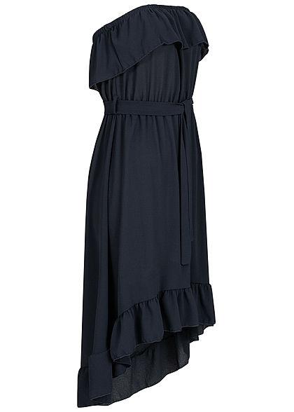 Styleboom Fashion Damen Belted Frill Bandeau Dress navy blau