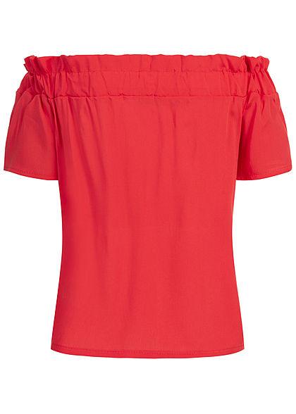 Styleboom Fashion Damen Off-Shoulder Top coral pink