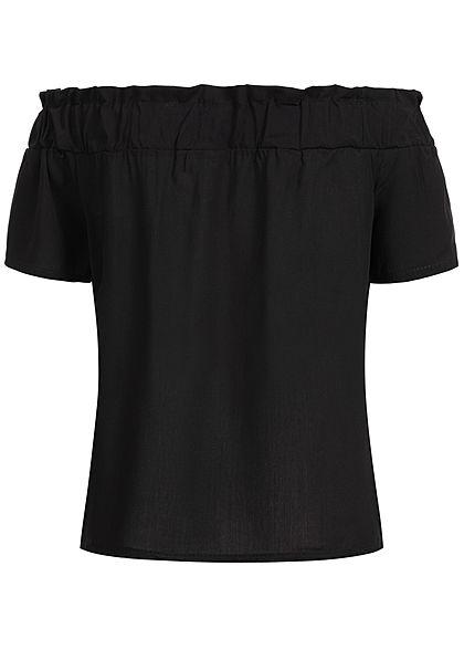Styleboom Fashion Damen Off-Shoulder Top schwarz