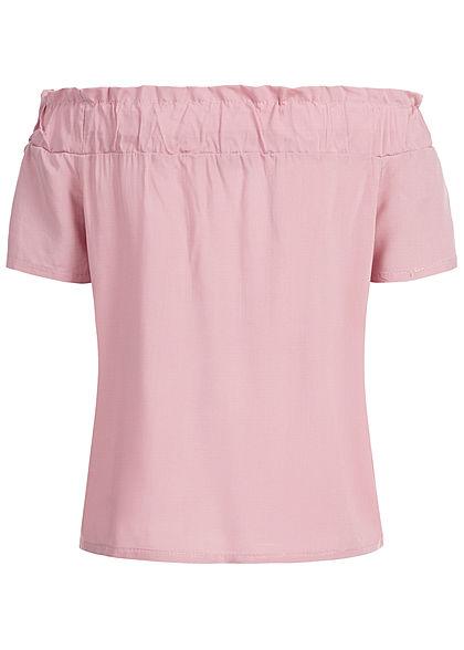 Styleboom Fashion Damen Off-Shoulder Top rosa