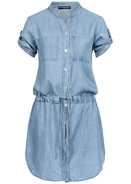 Styleboom Fashion Damen Denim Turn-Up Dress Buttons 2-Breast Pockets hell blau