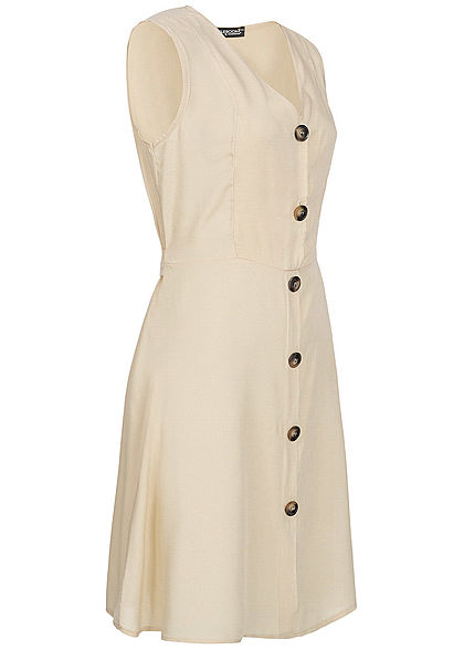 Styleboom Fashion Damen Tie Belt Backside Button Dress beige