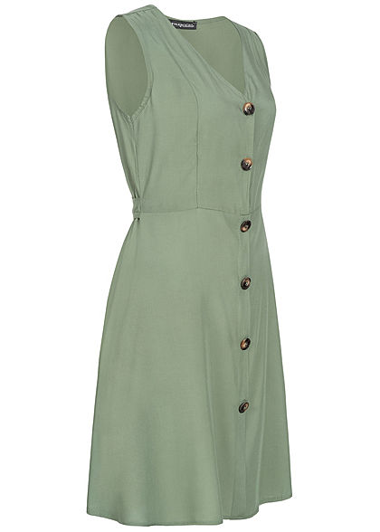 Styleboom Fashion Damen Tie Belt Backside Button Dress military grün