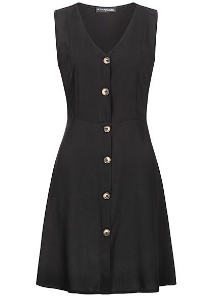 Styleboom Fashion Damen Tie Belt Backside Button Dress schwarz