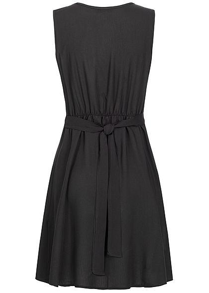 Styleboom Fashion Damen Tie Belt Backside Button Dress schwarz