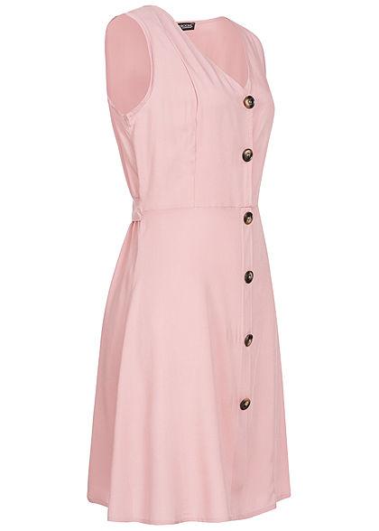 Styleboom Fashion Damen Tie Belt Backside Button Dress rosa