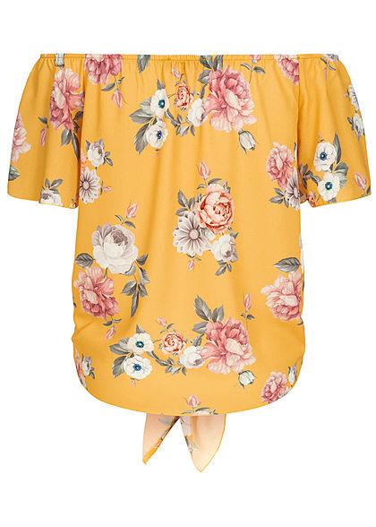 Styleboom Fashion Damen Off-Shoulder Tie-Knot Button Top Flower Print gelb