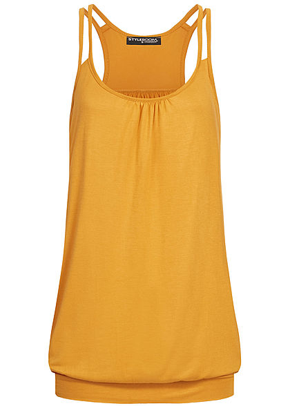 Styleboom Fashion Damen Oversized 2 Strapped Basic Top mustard gelb