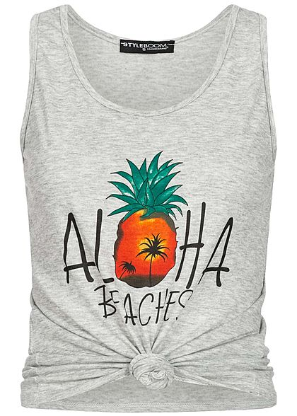 Styleboom Fashion Damen Twist Front Aloha Print Tank Top hell grau