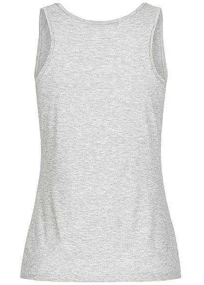 Styleboom Fashion Damen Twist Front Aloha Print Tank Top hell grau