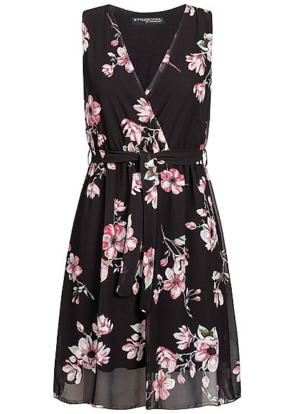 Styleboom Fashion Damen Wrap Belted Mini Dress Flower schwarz rosa