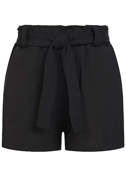 Styleboom Fashion Damen Belted Paper-Bag Shorts 2-Pockets schwarz