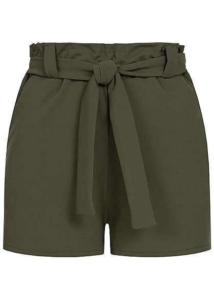 Styleboom Fashion Damen Belted Paper-Bag Shorts 2-Pockets military grün
