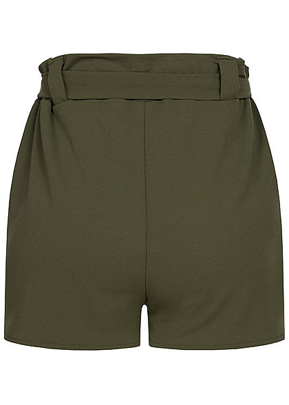 Styleboom Fashion Damen Belted Paper-Bag Shorts 2-Pockets military grün