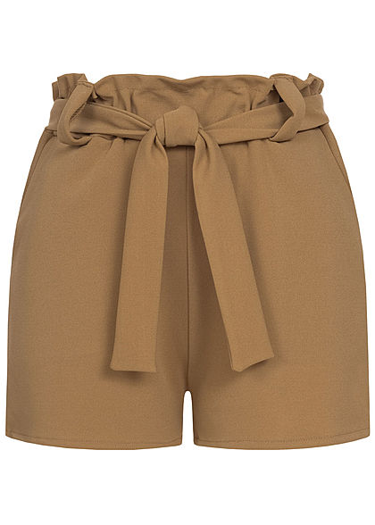 Styleboom Fashion Damen Belted Paper-Bag Shorts 2-Pockets fango braun