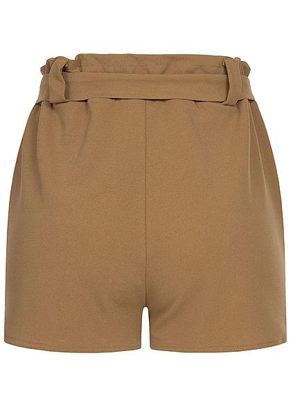 Styleboom Fashion Damen Belted Paper-Bag Shorts 2-Pockets fango braun