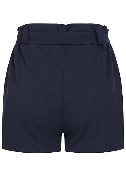 Styleboom Fashion Damen Belted Paper-Bag Shorts 2-Pockets navy blau