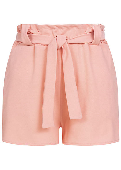 Styleboom Fashion Damen Belted Paper-Bag Shorts 2-Pockets rosa