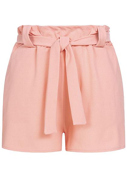 Styleboom Fashion Damen Belted Paper Bag Shorts 2 Pockets rosa