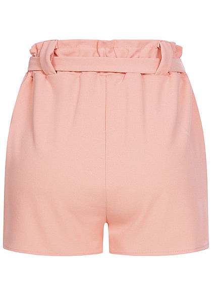 Styleboom Fashion Damen Belted Paper-Bag Shorts 2-Pockets rosa
