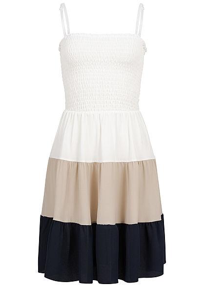 9f1028a7380cb Styleboom Fashion Damen Strapped Colorblock Dress weiss beige blau