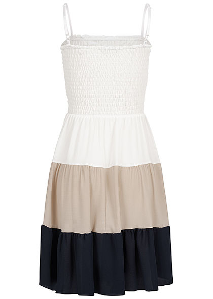 Styleboom Fashion Damen Strapped Colorblock Dress weiss beige blau