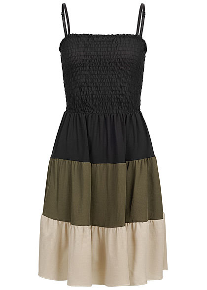 Styleboom Fashion Damen Strapped Colorblock Dress schwarz military grün beige