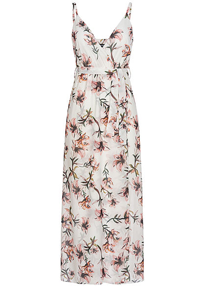Styleboom Fashion Damen Belted Wrap V-Neck Maxi Dress Flower Print weiss rosa