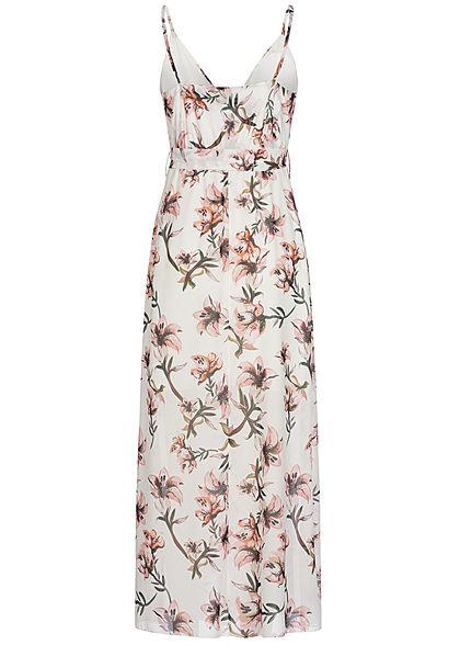 Styleboom Fashion Damen Belted Wrap V-Neck Maxi Dress Flower Print weiss rosa