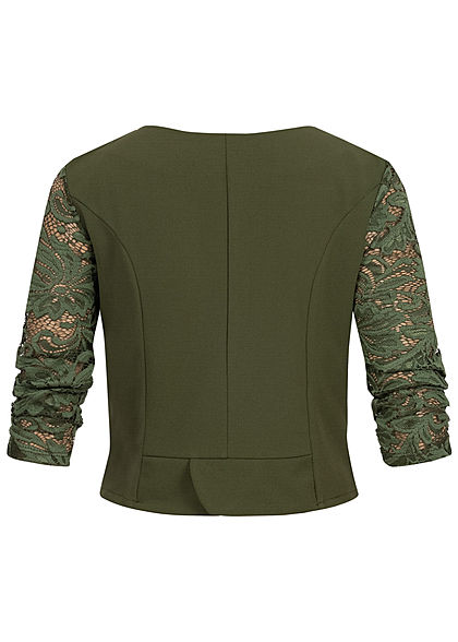 Styleboom Fashion Damen 3/4 Sleeve Lace Short Bolero military grün