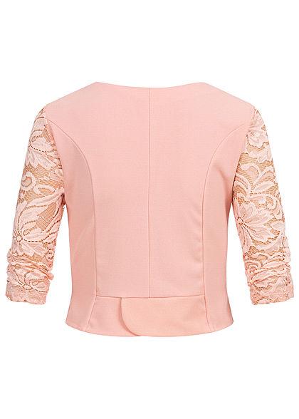 Styleboom Fashion Damen 3/4 Sleeve Lace Short Bolero rosa