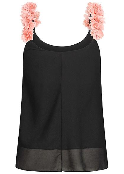 Styleboom Fashion Damen 2-Layer Flower Strap Chiffon Top schwarz