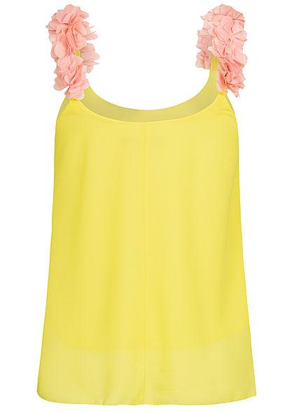 Styleboom Fashion Damen 2-Layer Flower Strap Chiffon Top gelb